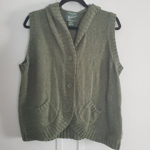Woolrich Wool Blend Hooded Cardigan Sweater Vest